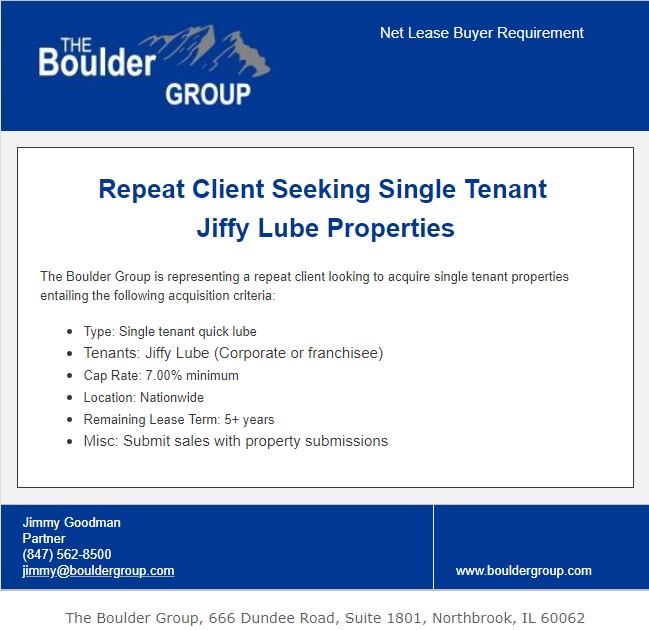 Repeat Buyer Seeking Single Tenant Jiffy Lube Properties
